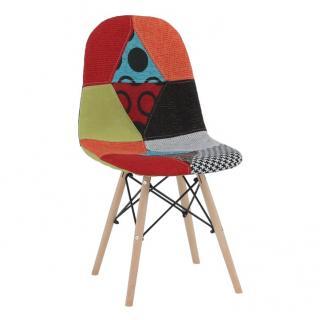 Jídelní židle čalouněná mix barev patchwork dřevěná podnož TK3173