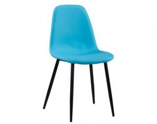 Jídelní židle Loof, modrá ekokůže
