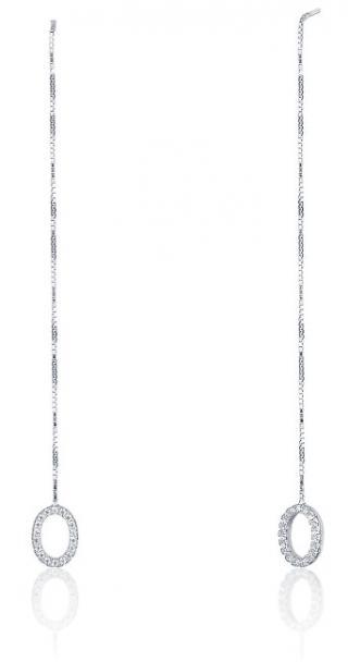 JVD Dlouhé stříbrné náušnice s drobnými zirkony SVLE0405XE9BI00 dámské