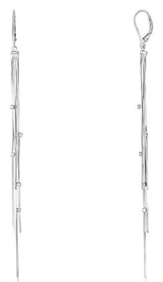 JVD Dlouhé stříbrné náušnice se zirkony SVLE0803XE90000 dámské