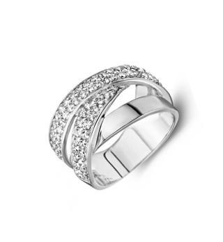 JVD Luxusní stříbrný prsten s třpytivými zirkony SVLR0259XH2BI 60 mm dámské