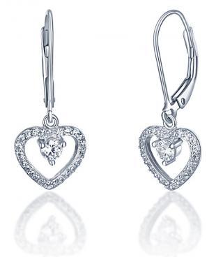 JVD Romantické stříbrné náušnice Srdce SVLE0344XF3BI00 dámské
