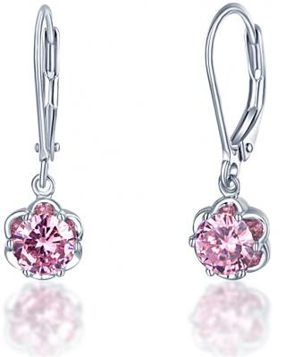 JVD Stříbrné náušnice s třpytivými růžovými krystaly SVLE0015SD5R200 dámské