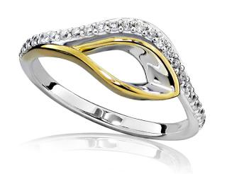 JVD Stříbrný bicolor prsten se zirkony SVLR0246SH8BK 58 mm dámské