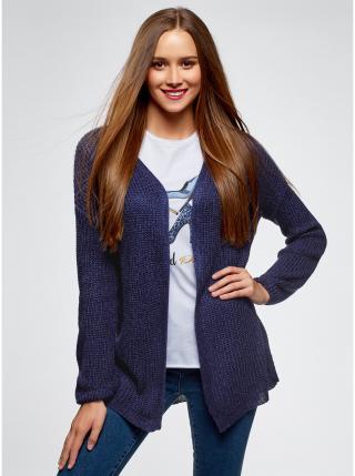 Kabátek bez zapínání s ažurovým vzorem na zádech OODJI dámské fialová S