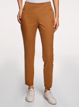 Kalhoty bavlněné s ozdobnými kapsami OODJI dámské hnědá XXS