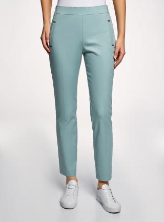 Kalhoty bavlněné s ozdobnými kapsami OODJI dámské petrolejová XL