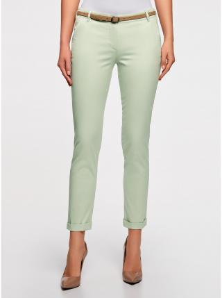 Kalhoty typu chinos s páskem perforovaným hvězdami OODJI dámské zelená XS