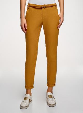 Kalhoty zúžené s páskem OODJI dámské bronzová XS