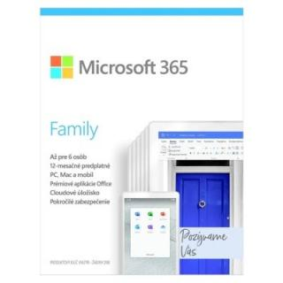 Kancelářská aplikace microsoft 365 family p6 mac/win, 1 rok, sk