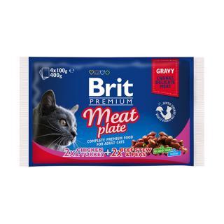 Kapsička brit premium cat meat plate multipack 4x100g