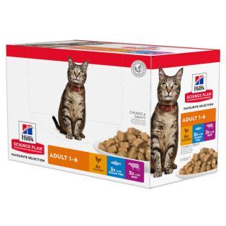 Kapsička hill´s science plan feline adult multipack chicken, beef & ocean fish 12x85g
