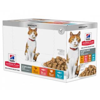 Kapsička hill´s science plan feline young adult sterilised multipack chicken & trout & turkey 12x85g