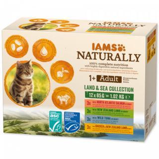 Kapsička IAMS Naturally mořské a suchozemské maso v omáčce multipack 12x85g