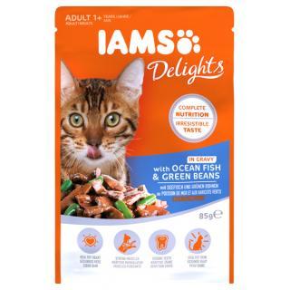 Kapsička iams pro kočky s mořskými rybami a zelenými fazolkami v omáčce 85g