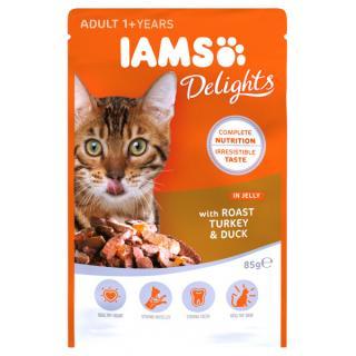 Kapsička iams pro kočky s pečeným masem z krocana a kachny v želé 85g