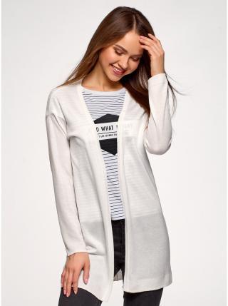 Kardigan pletený bez zapínání OODJI dámské bílá XL