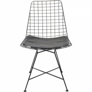 KARE Design Černá kovová židle s polštářkem Grid