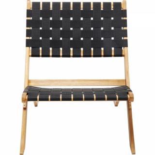 KARE Design Černá skládací židle s výpletem Ipanema