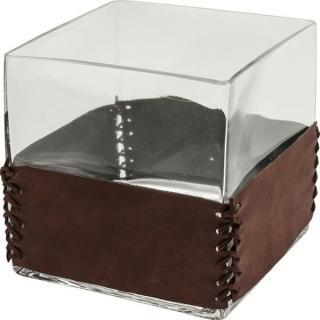 KARE Design Čirá skleněná váza String Visible Square 15cm