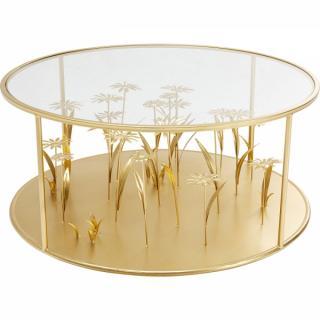 KARE Design Konferenční stolek Flower Meadow - zlatý, O80cm