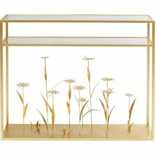 KARE Design Konzolový stolek Flower Meadow - zlatý, 100cm