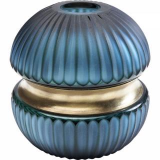 KARE Design Modrá skleněná váza Cesar Ring 15cm