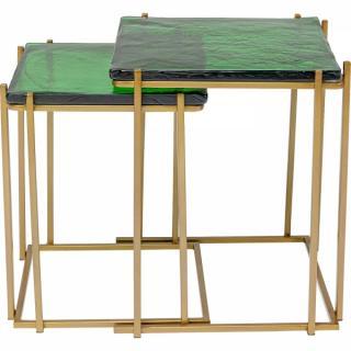 KARE Design Odkládací stolek Lagoon - zlato-zelený, set 2 ks
