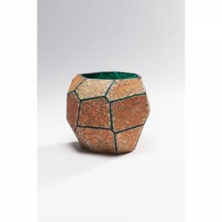 KARE Design Oranžová skleněná Váza Stone Gold 15cm