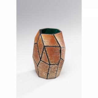 KARE Design Oranžová skleněná váza Stone Gold 22cm