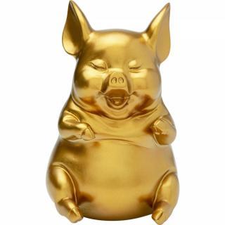 KARE Design Pokladnička Pig Sitting - zlatá