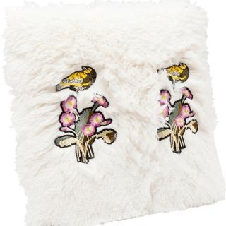 KARE Design Polštář Fur Birds Flower 40×40 cm
