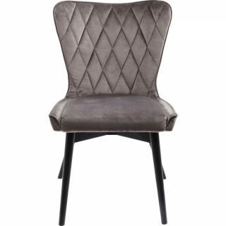 KARE Design Šedá čalouněná jídelní židle Black Marshall Velvet