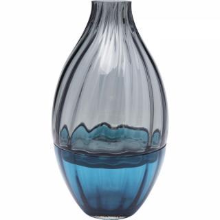 KARE Design Šedomodrá skleněná váza Bicolore Acqua Drop 34cm