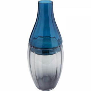 KARE Design Šedomodrá skleněná váza Bicolore Acqua Drop 42cm