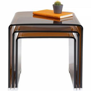 KARE Design Set tří stolků Visible - jantarové, set 3 ks
