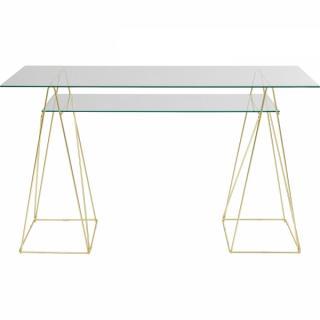 KARE Design Skleněný psací stůl Polar - měděný, 135x65cm