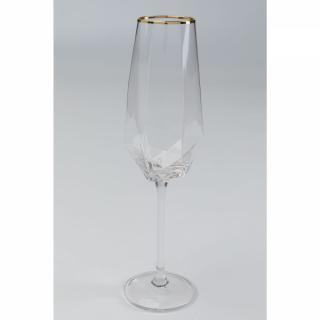 KARE Design Sklenice na šampaňské Diamond se zlatým proužkem