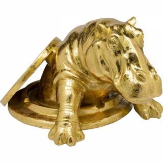 KARE Design Soška Hroch s poklopem Zlatá 72cm