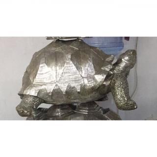 KARE Design Soška Želva Stříbrná 60cm