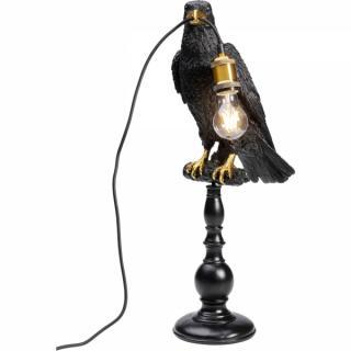 KARE Design Stolní lampa Černý havran s žárovkou v zobáku 29cm