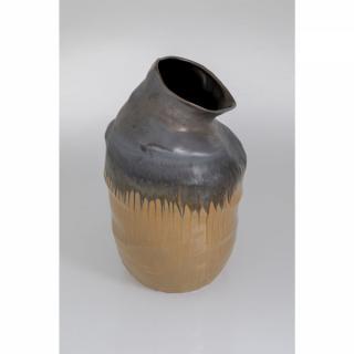 KARE Design Vysoká hnědá kameninová váza Collapse 58cm