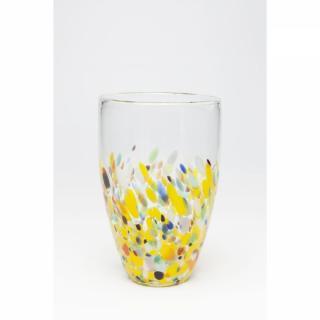 KARE Design Žlutá skleněná váza Abstract Dots 29cm
