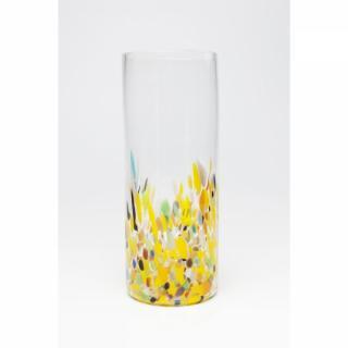 KARE Design Žlutá skleněná váza Abstract Dots 36cm