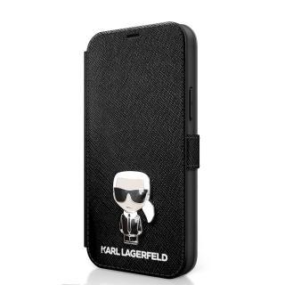 Karl Lagerfeld Saffiano Iconic pouzdro flip KLFLBKP12SIKMSBK Apple iPhone 12 mini black