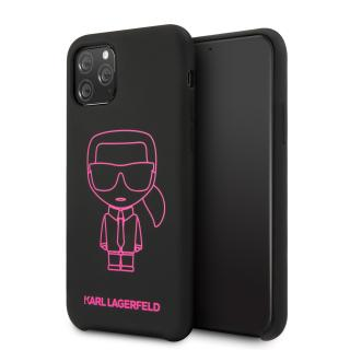 Karl Lagerfeld silikonový kryt KLHCN65SILFLPBK Apple iPhone 11 Pro Max pink out black