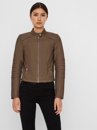 Khaki koženková bunda VERO MODA Cindy dámské XS