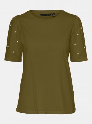 Khaki tričko s ozdobnými detaily VERO MODA Celia dámské M