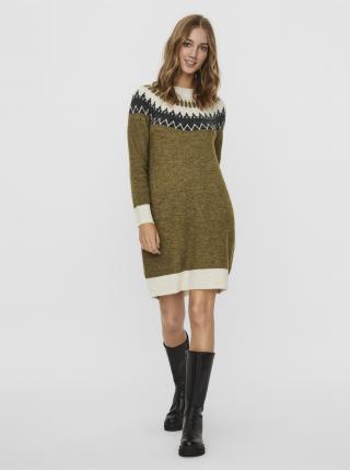 Khaki vzorované svetrové šaty VERO MODA dámské XS