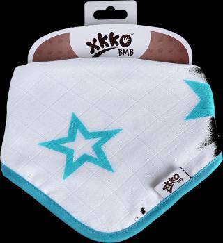 KIKKO Bambusový slintáček/šátek Stars  – turquoise tyrkysová